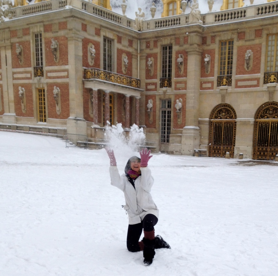 Playing in the snow at Versailles