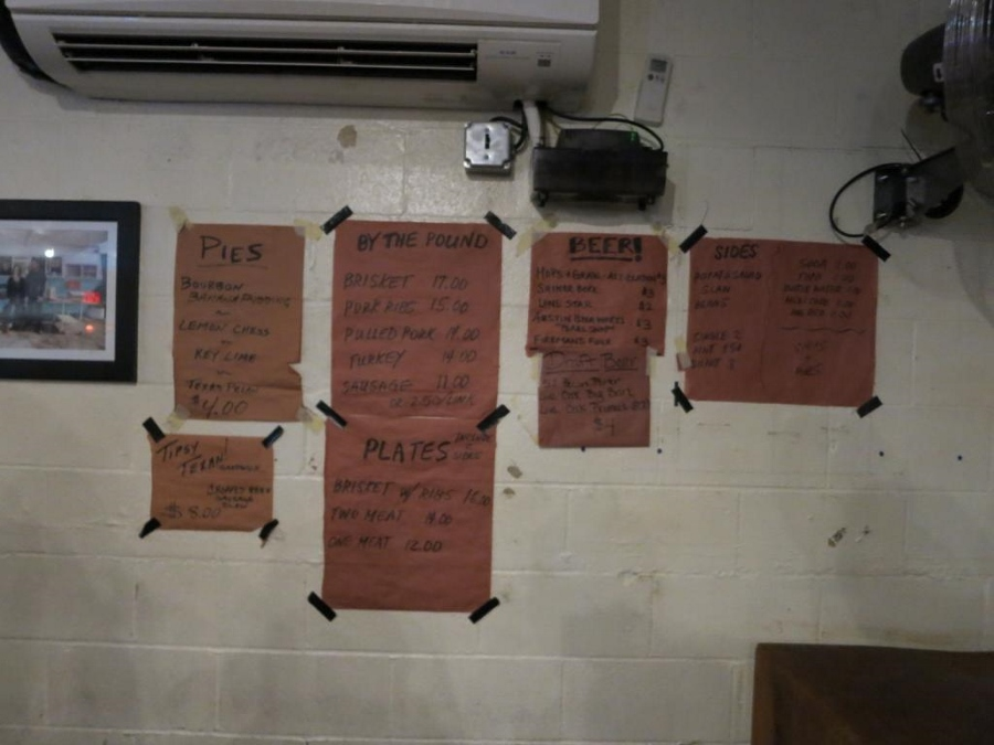 Franklin BBQ Menu on the wall