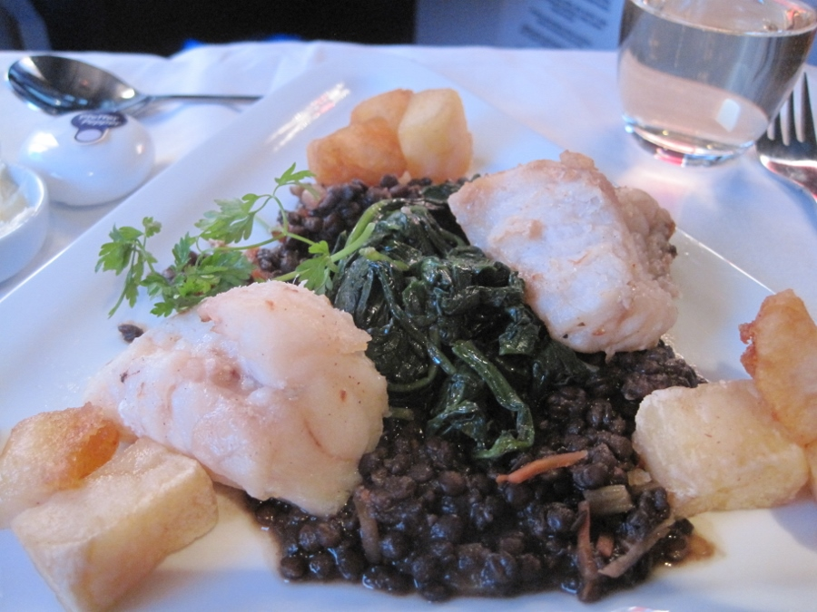 Grilled Monk Fish, Fried Potatoes Lentils and Spinach