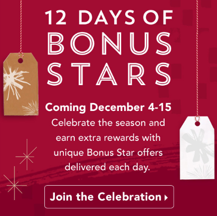 Starbucks 12 Days of Bonus Stars
