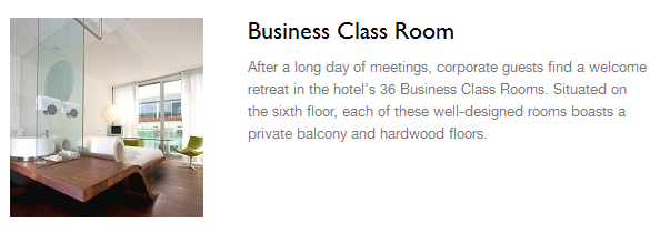 Radisson blue business class room
