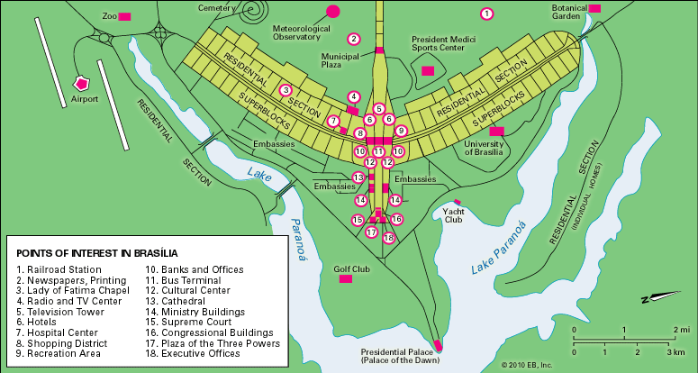 Brasilia Points of Interest Map