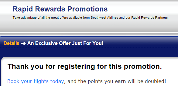 Southwest Double Points Registration