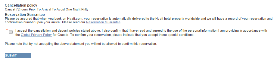 Submit Hyatt Reservation