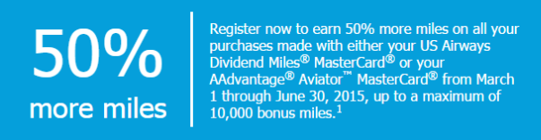 US Air 50 percent bonus