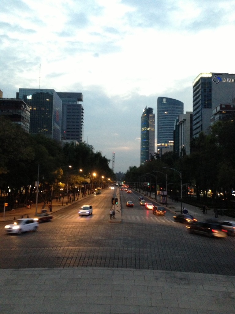 View from the roundabout over Paseo de la Reforma in downtown Mexico City