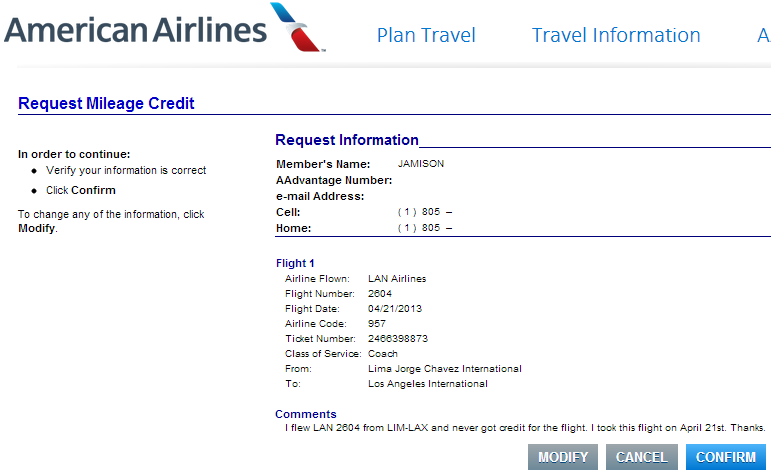 How To Request Mileage Credit With American Airlines On A