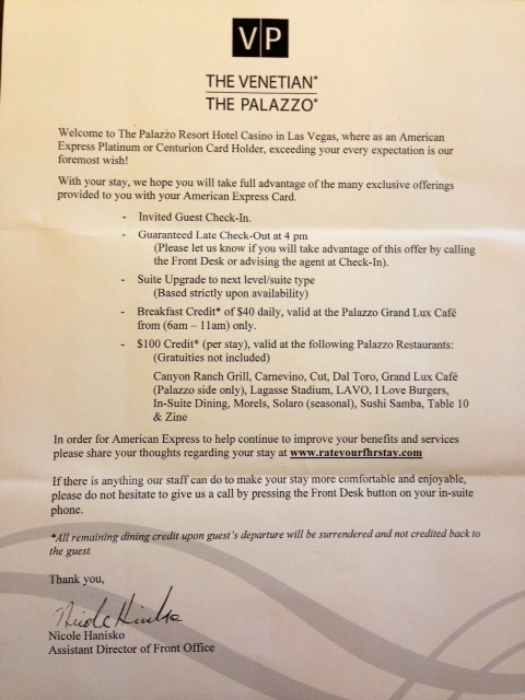 The Palazzo Las Vegas Resort Hotel Review - Points Summary