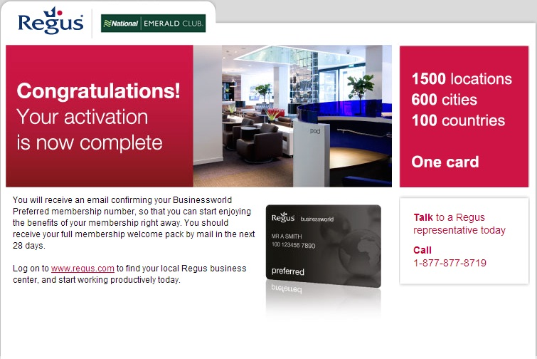 Free Year of Regus Business Lounge Membership for National