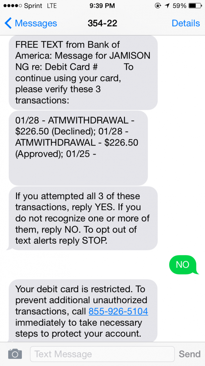 Atmfraud1 I Immediately Notified Bank Of America