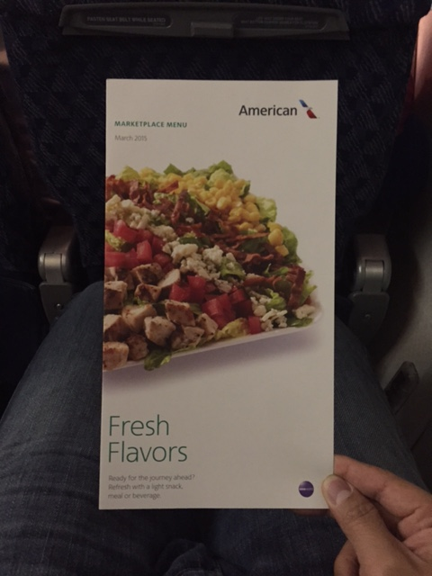 New American Airlines Marketplace Menu In The Economy