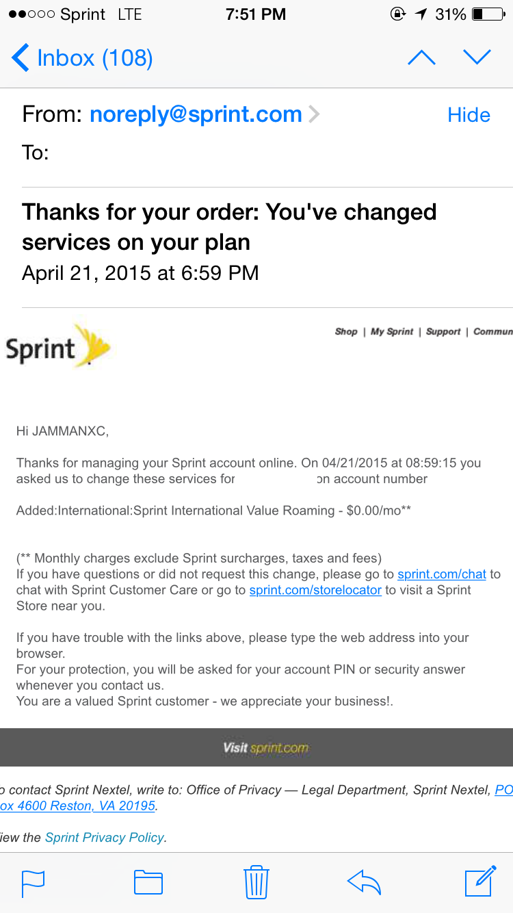 sprint introduces international data roaming and texting i checked my account 2 hours later and voila the international value roaming service was added under add on services