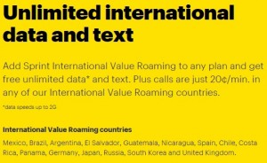 Sprint Introduces Free International Data Roaming and Texting