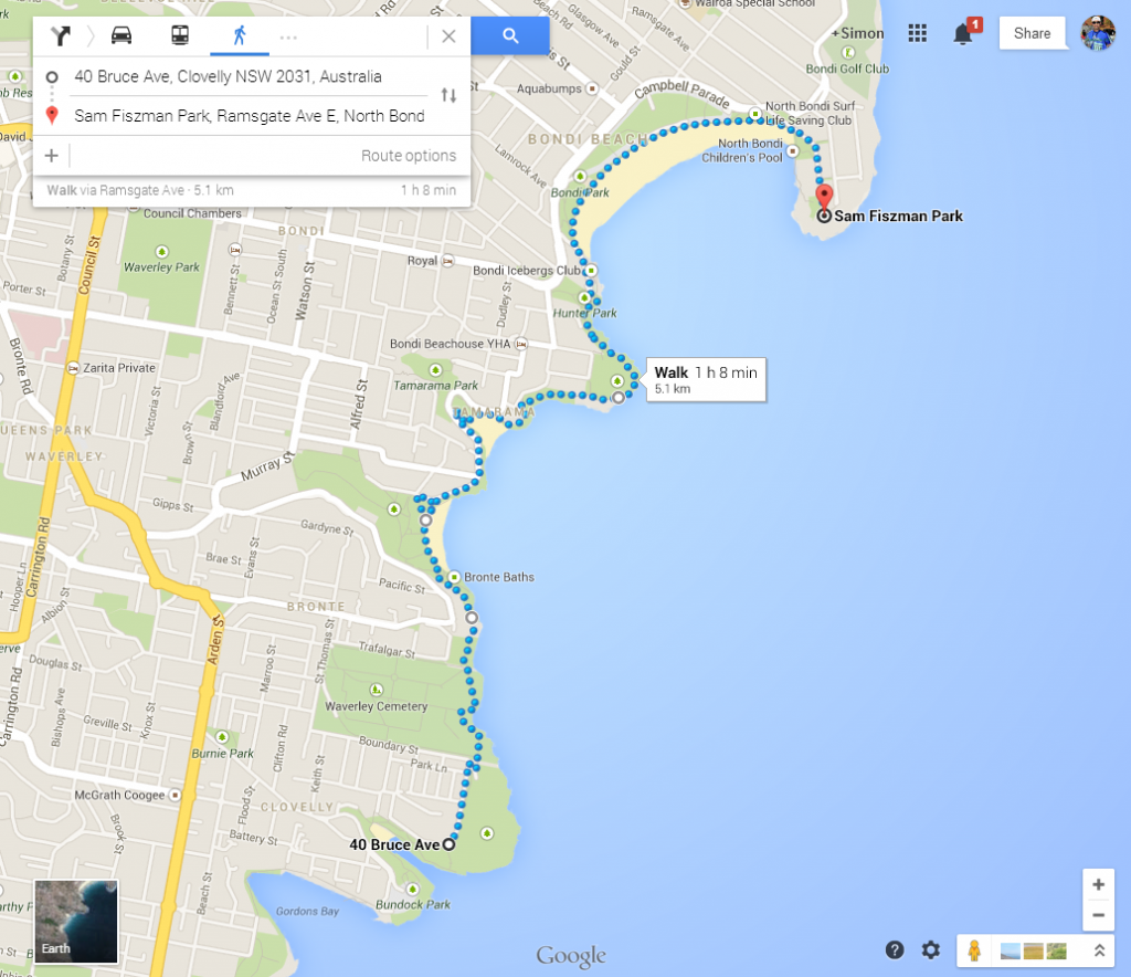 Google Maps Bondi Walk