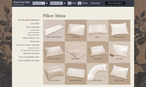 Pillow Menu from The Benjamin Hotel Website
