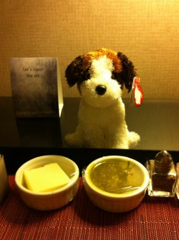 Even my stuffed friend joined in on room service