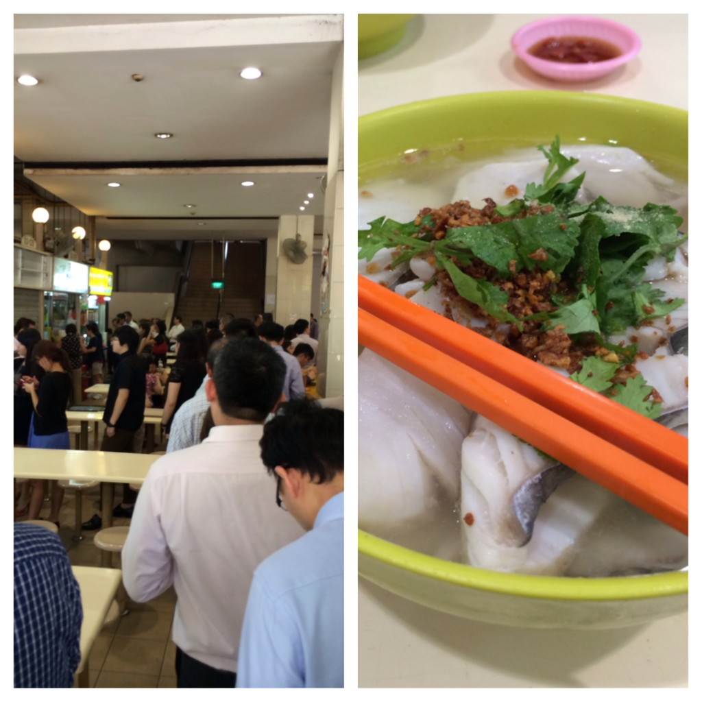 Some of the best fish I've ever had. Note the line we're in goes to one of the last stalls. Thanks to Charles for taking me here! (Han Kee Fish Soup stall)