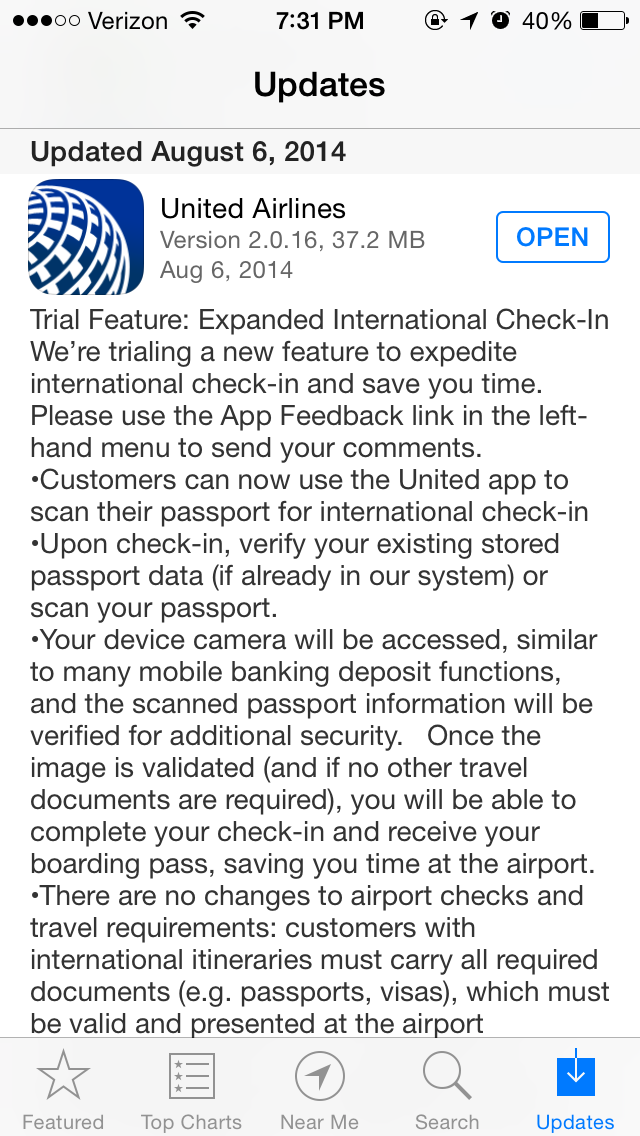 Checking Out Checking In with the United App's New Passport