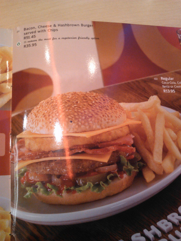 Ordered this at a Wimpy burger in Johannesburg.