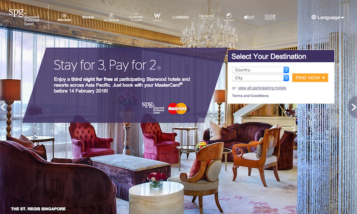 SPG Asia Pacific Third Night Free Promo