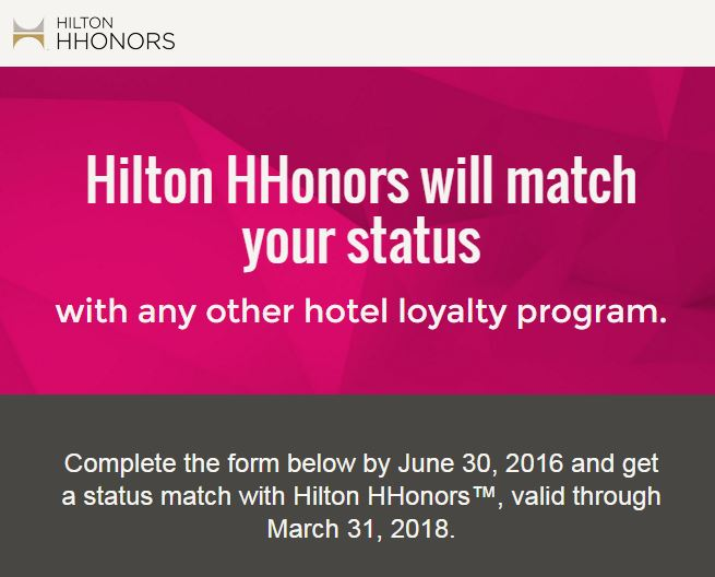 Hilton Status-Matching Again – Free Diamond Status through March 31, 2018!